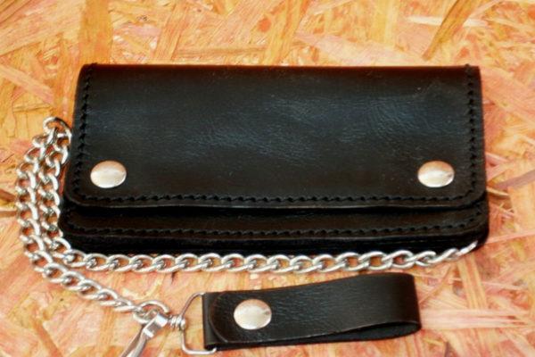 portafoglio in pelle nero con catena elettrosaldata classico con bottoni max cuoio torino