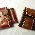 porta tabacco in cuoio decorato marrone e nero max cuoio torino