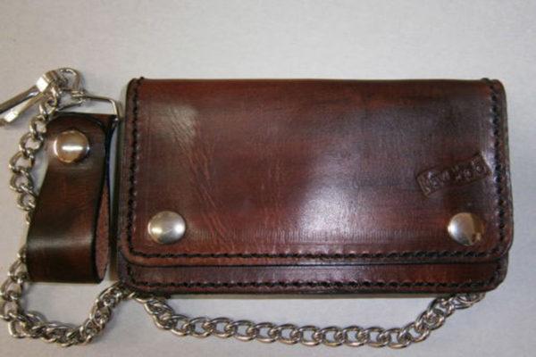 portafoglio in cuoio marrone classico con catena max cuoio torino