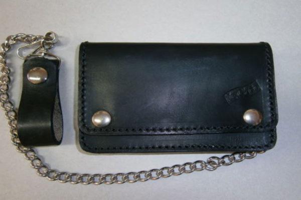 portafoglio in cuoio nero classico con catena max cuoio torino